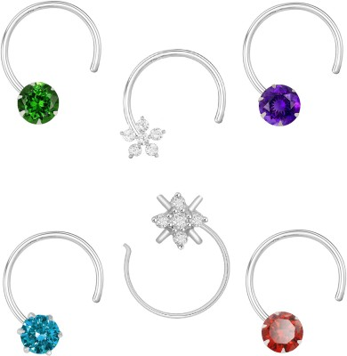 85 Off On Peenzone Cubic Zirconia Silver Plated Sterling Silver Nose Stud Set Pack Of 6 On Flipkart Paisawapas Com