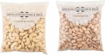 Shivram Peshawari & Bros Combo of Cashew & Salt Pista 200 Grams Each Cashews, Pistachios(400 g, Pouch)