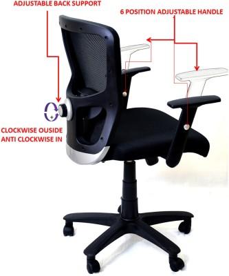 TimberTaste JOHNY Fabric Office Arm Chair(Black) at flipkart