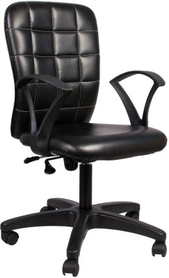 Hetal Enterprises Leatherette Office Arm Chair(Black)