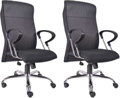 VJ Interior Fabric Office Arm Chair(Black, Set of 2) at flipkart