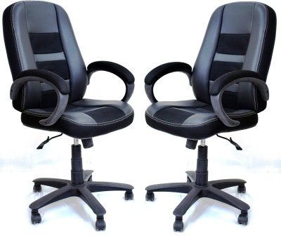 TimberTaste RUBY Leatherette Office Arm Chair(Black, Set of 2) at flipkart