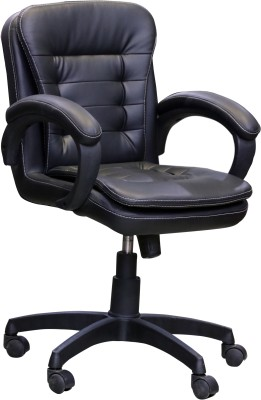 Ks chairs Leatherette Office Arm Chair(Black)