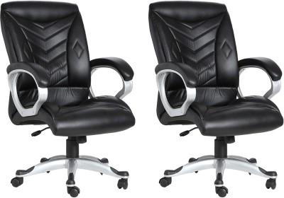 VJ Interior Leatherette Office Arm Chair(Black, Set of 2) at flipkart