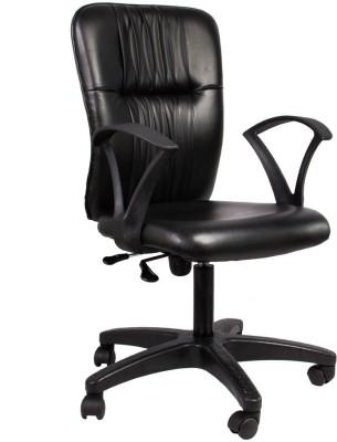 Hetal Enterprises Leatherette Office Arm Chair(Black)