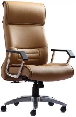 HOF Zeba 541 Premium Leatherette Office Arm Chair(Brown)