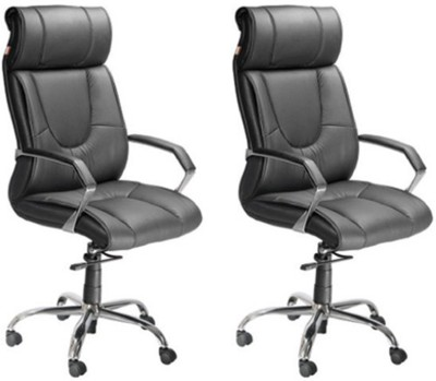 Mavi Leatherette Office Arm Chair(Black, Set of 2) at flipkart
