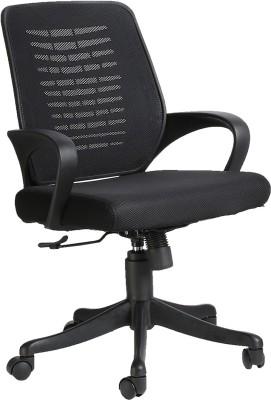 VJ Interior Fabric Office Arm Chair(Black)