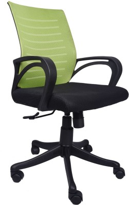 VJ Interior Fabric Office Arm Chair(Green, Black)