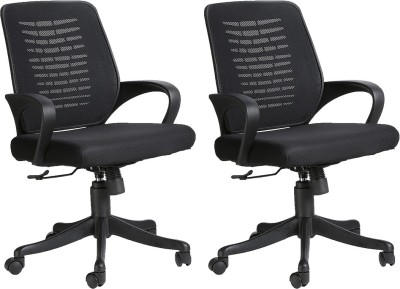 VJ Interior Fabric Office Arm Chair(Black, Set of 2)