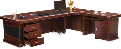 Durian Engineered Wood Office Table(Free Standing, Finish Color - Cherry)