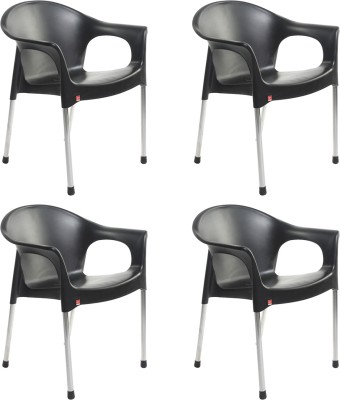 Cello Plastic Cafeteria Chair(Black, Set of 4)
