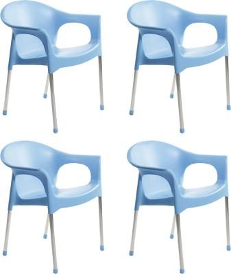 Cello Plastic Cafeteria Chair(Flourescent Blue, Set of 4)
