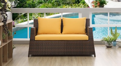 Urban Ladder Samui Patio 2 Seater Synthetic Fiber Outdoor Chair(Finish Color - Brown)