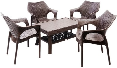 Mavi Brown Plastic Table & Chair Set(Finish Color - Brown)