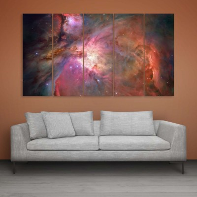 Inephos Beautiful Space Universe Wall Painting Multiple Frames Digital Reprint Painting 30 Inch X 52 Inch