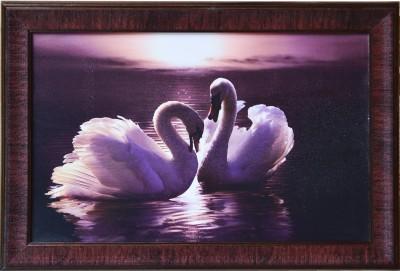 eCraftIndia 2 Swans Design Satin Matt Texture Canvas 14 inch x 20 inch Painting at flipkart