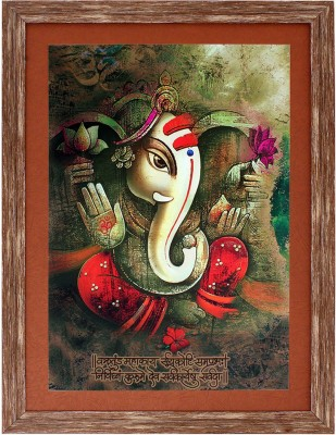 Art N Hub Ganesha Textured UV Effect with Acrylic Glass Ink Painting Ink 22 inch x 16 inch Painting at flipkart