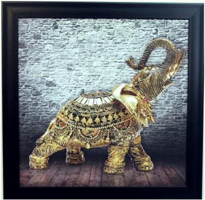 eCraftIndia Jewelled Elephant Design Satin Matt Texture Canvas 14 inch x 14 inch Painting at flipkart
