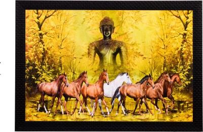 eCraftIndia Lord Buddha & Horses Satin Matt Textured UV Art Canvas 11 inch x 14 inch Painting at flipkart