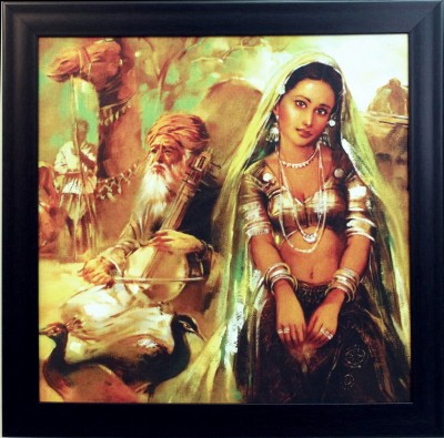 eCraftIndia Indian Villagers Design Satin Matt Texture Canvas 14 inch x 14 inch Painting at flipkart