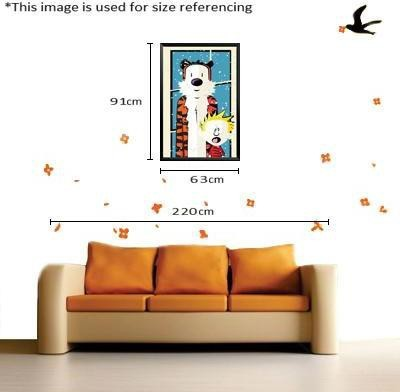 Paintcollar Calvin And Hobbes L Canvas Painting(36 inch x 24 inch)  available at flipkart for Rs.8199