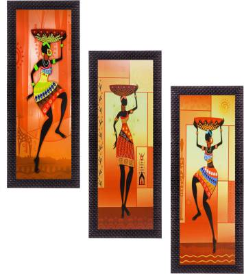 eCraftIndia Set Of 3 Tribal Ladies Satin Matt Textured Canvas Painting