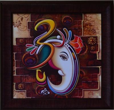 eCraftIndia Colorful Om Ganesha Design Satin Matt Texture Canvas 14 inch x 14 inch Painting at flipkart