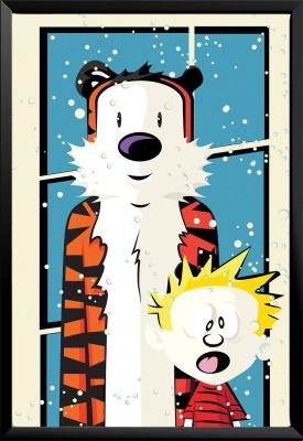 Paintcollar Calvin And Hobbes S Canvas Painting(18 inch x 12 inch)  available at flipkart for Rs.3799