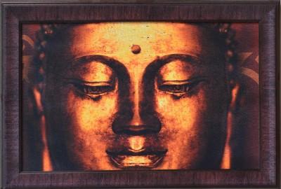 eCraftIndia Meditating Buddha Head Satin Matt Texture Canvas 14 inch x 20 inch Painting at flipkart