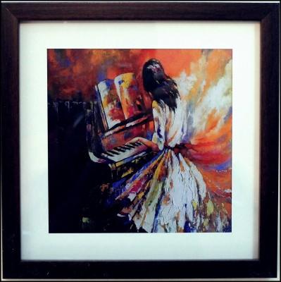 eCraftIndia Girl Playing Piano Design Satin Matt Texture Canvas 9 inch x 9 inch Painting at flipkart