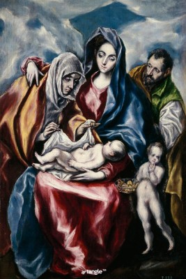 Artangle El Greco - La Sagrada Familia con Santa Ana y San Juanito, Ca. 1600 Art Print Digital Reprint Painting(18 inch x 12 inch)  available at flipkart for Rs.299