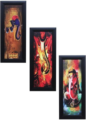 Craft Junction Set Of 3 Lord Ganesha Design Matt Textured UV Canvas 15.25 inch x 6.25 inch Painting