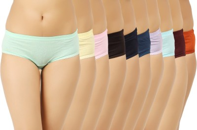 Vaishma Women Hipster Purple, Dark Blue, Green, Blue, Brown, Maroon, Pink, Orange, Yellow Panty(Pack of 10)