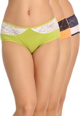 Clovia Women Hipster Green, Pink, Orange Panty(Pack of 3)