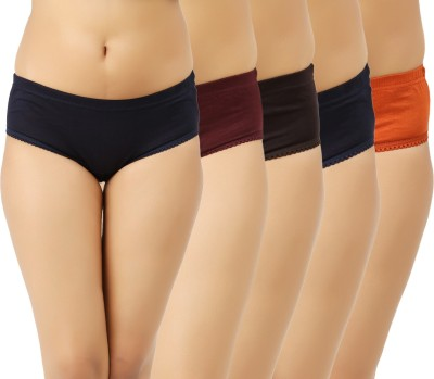 Vaishma Women Hipster Dark Blue, Brown, Maroon, Orange, Blue Panty(Pack of 5)