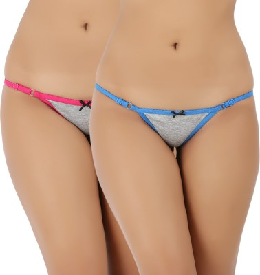 Vaishna Women Bikini Pink, Blue Panty(Pack of 2)