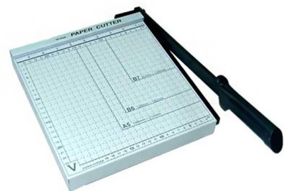 DDS JD A4 Size Metal Grip Hand held Paper Cutter Set Of 1, White