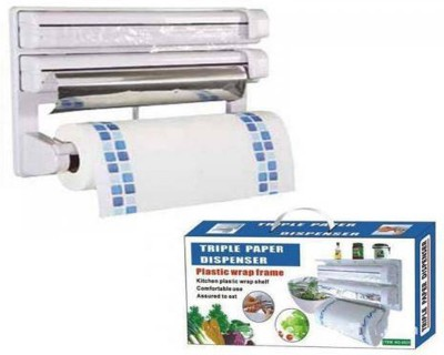 VibeX ® The Ultimate Kitchen 3-in-1 Tissue & Aluminium Foil Towel Holder ABS Strong Moulded Easy Flow™ Type-X-7 Paper Dispenser  available at flipkart for Rs.969