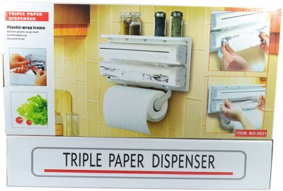 VibeX ™ Holder for Cling Film Wrap Aluminium Foil Kitchen Roll ABS Strong Moulded Easy Flow™ Type-X-2 Paper Dispenser  available at flipkart for Rs.969