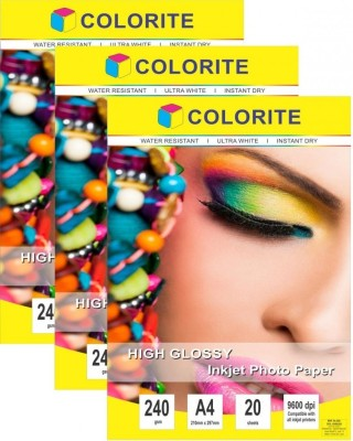 Colorite 240gsm Sheets Cast Coated Inkjet Unruled A4 Photo Paper(Set of 3, White)