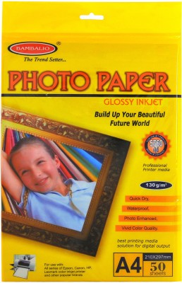 Bambalio High Glossy 130 GSM 50 Sheets A4 Photo Paper Set of 1, White