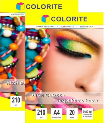Colorite 210gsm Cast Coated Inkjet Unruled A4 Photo Paper(Set of 2, White)
