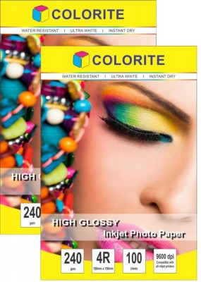 Colorite 240gsm Cast Coated Inkjet Unruled 4R Photo Paper(Set of 2, White)