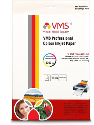 VMS Professional Colour Inkjet Paper CC Semi Glossy Inkjet Photo Paper 4R(102 x 152mm) 180 GSM (100 Sheets) Unruled 4x6 Inkjet Paper(Set of 1, White)