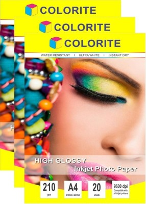 Colorite 180gsm Cast Coated Inkjet Unruled 4R Photo Paper(Set of 3, White)