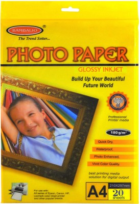 Bambalio Glossy Photo Paper 180 GSM , 20 Sheets A4 Photo Paper(Set of 1, White)