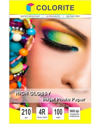 Colorite 210gsm Cast Coated Inkjet Unruled 4R Photo Paper(Set of 1, White)