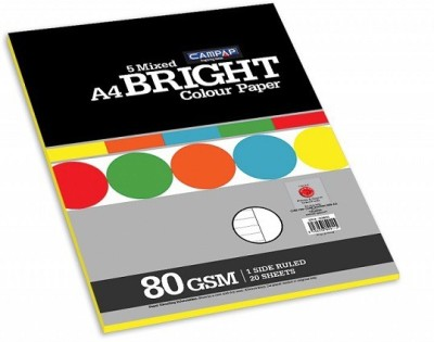 Campap Bright One side ruled A4 Coloured Paper(Set of 4, Multicolor)