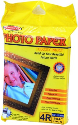 INK WELL Photo Glossy Paper A4 Size Castcoat - 180 GSM, 100 Sheets Unruled A4 Photo Paper(Set of 1, White)